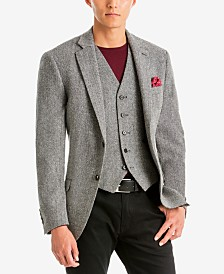Lauren Ralph Lauren Men's Classic-Fit Ultraflex Stretch Black/White Herringbone Wool Matching Jacket and Vest