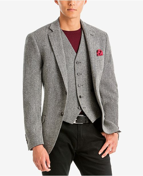 61ab36e8694 ... Lauren Ralph Lauren Men s Classic-Fit Ultraflex Stretch Black White  Herringbone Wool Matching Jacket ...