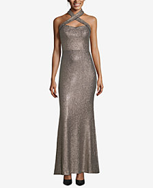XSCAPE Allover Sequin Crisscross Halter Gown