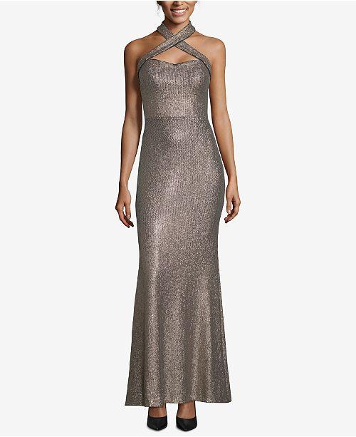 XSCAPE Allover Sequin Crisscross Halter Gown