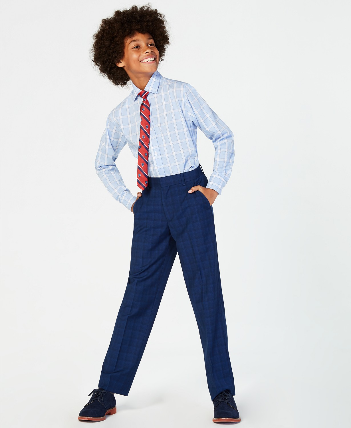 Tommy Hilfiger Big Boys Stretch Plaid Suit Pants