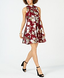 Petite Floral Metallic Printed Mock-Neck Dress
