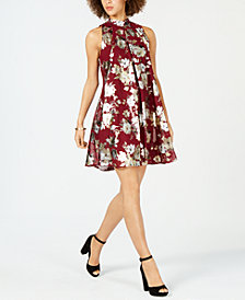 Robbie Bee Petite Floral Metallic Printed Mock-Neck Dress