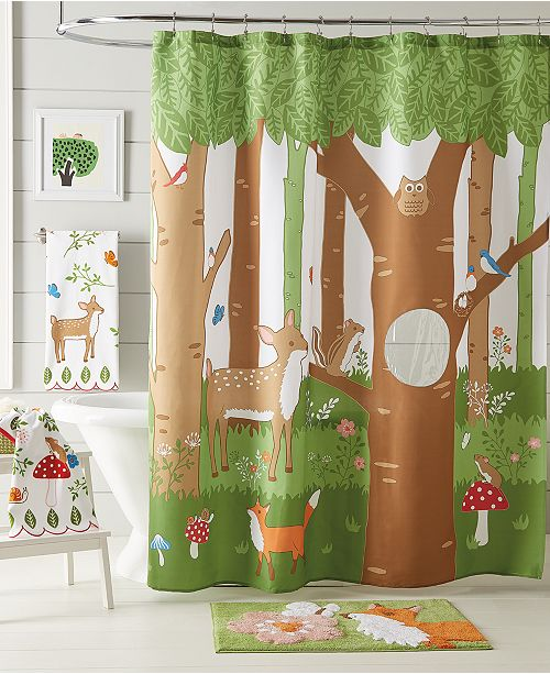 Dream Factory Woodland Friends Shower Curtain