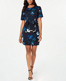 Tommy Hilfiger Floral-Print Belted Waist Dress, Created for Macy's