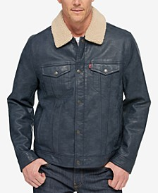 Men's Faux Leather Trucker Jacket