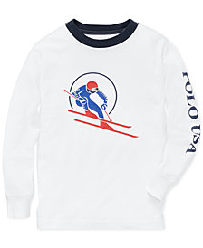 Polo Ralph Lauren Little Boys Downhill Skier Graphic Long-Sleeve Cotton T-Shirt
