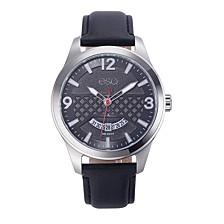 Men's Stainless Steel Watch, Black Dial, Date Window
