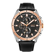 Men's Two-Tone Stainless Steel Chronograph Watch with Black Dial
