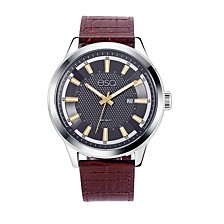 Men's Stainless Steel Watch, Date Window and Grey Dial