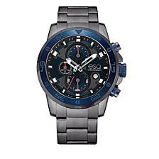 Men's Stainless Steel Gun Metal IP Chronograph Bracelet Watch, Blue Dial