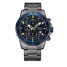 Men's ESQ0060 Stainless Steel Gun Metal IP Chronograph Bracelet Watch, Blue Dial