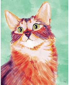 "Painted Somali Cat On Green 24"" X 36"" Acrylic Wall Art Print"