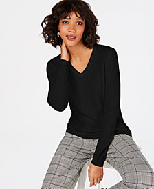 Charter Club Petite Pure Cashmere V-Neck Sweater, Created for Macy's