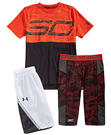 Under Armour Big Boys SC30-Print Colorblocked T-Shirt, Printed Leggings & Shorts