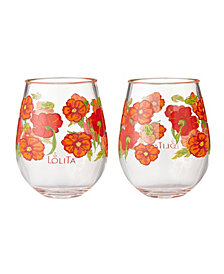 Enesco Lolita Best of the Bunch 2-Pc. Stemless Wine Glass Set