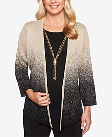 Alfred Dunner Petite Shining Moments Ombré Shimmer Cardigan & Necklace