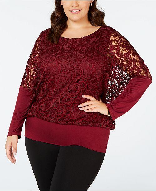 409a5a361ab Joseph A Plus Size Lace-Sleeve Top - Tops - Plus Sizes - Macy s