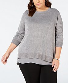 Joseph A Plus Size Split-Back Layered Sweater