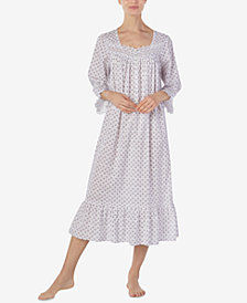 Eileen West Printed Cotton Ballet-Length Nightgown
