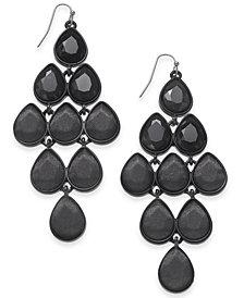 "Thalia Sodi Extra Large Hematite-Tone Black Crystal Teardrop Drop Earrings, 2.25"", Created for Macy's"