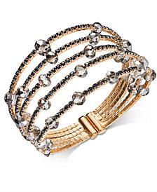 I.N.C. Gold-Tone & Hematite-Tone Bead Flex Bracelet, Created for Macy's
