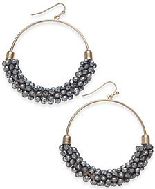 "I.N.C. Large Gold-Tone & Hematite-Tone Bead Hoop Earrings, 2"", Created for Macy's"