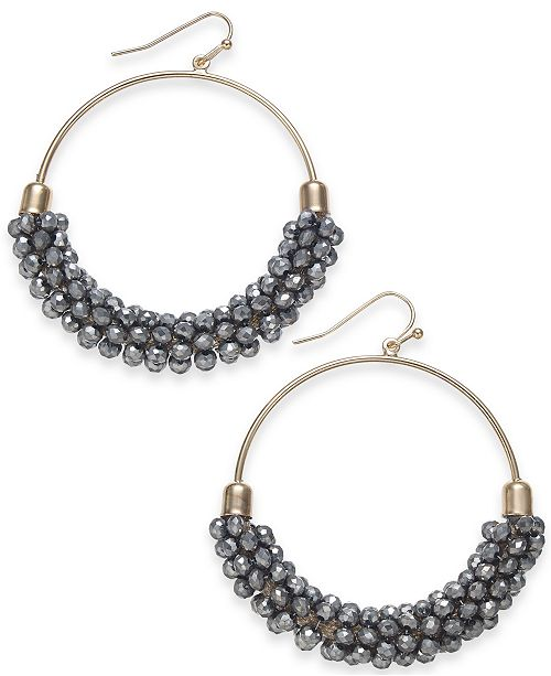 "INC International Concepts INC Large Bead Medium Hoop Earrings , 2"", Created for Macy's"