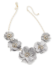 "I.N.C. Gold-Tone Crystal & Stone Fabric Flower Statement Necklace, 19"" + 3"" extender, Created for Macy's"