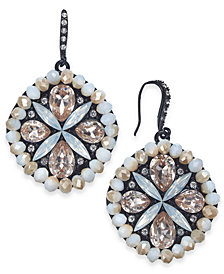 "I.N.C. Medium Black-Tone Neutral Crystal Drop Earrings, 1.25"", Created for Macy's"