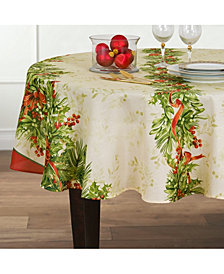 """Elrene Holly Traditions Double Border 70"""" Round Tablecloth"""