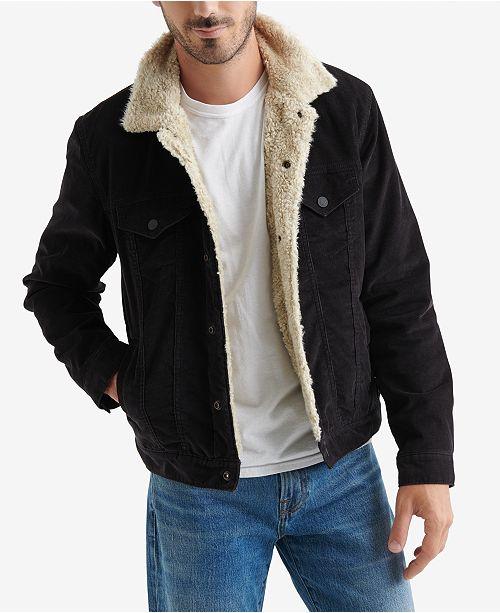 5a6b532fc3e Lucky Brand Men s Fleece-Lined Corduroy Trucker Jacket   Reviews ...