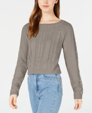 FRESHMAN | Freshman Juniors' Embellished Cropped Sweater | Goxip