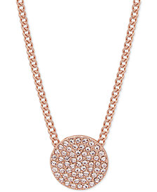 "DKNY Rose Gold-Tone Pavé Disc Pendant Necklace, 16"" + 3"" extender"