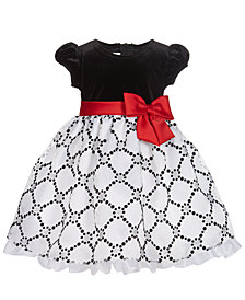 Bonnie Baby Baby Girls Flocked Velvet Dress