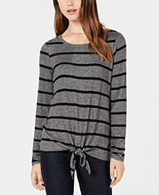 BCX Juniors' Striped Self-Tie Top