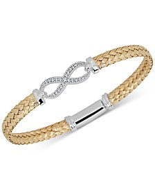 Diamond Infinity Braided Mesh Bangle Bracelet (1/5 ct. t.w.) in Sterling Silver & 14k Gold-Plate