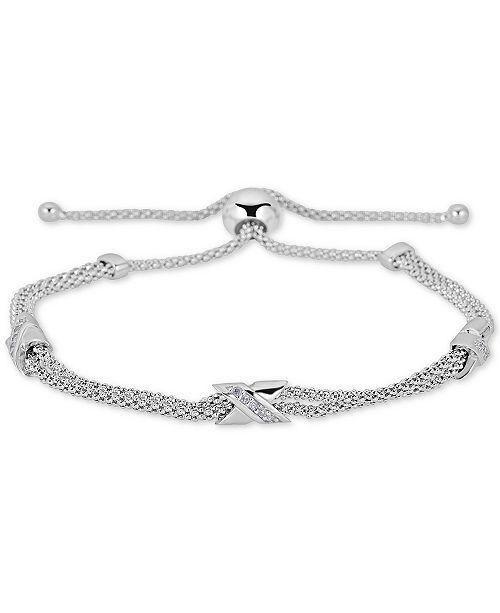 838049bc329 ... Macy's Diamond X Bolo Bracelet (1/8 ct. t.w.) in Sterling Silver ...