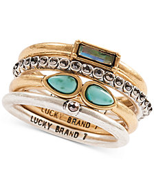 Lucky Brand Two-Tone Multicolor Stone Stack Ring