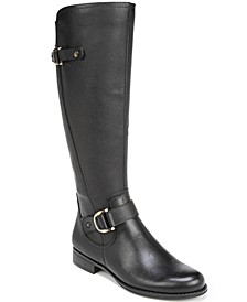 Jillian Leather Wide Calf Riding Boots