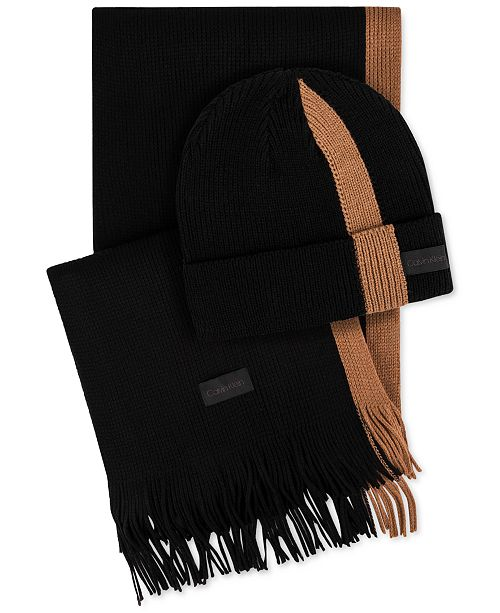 9154a7dfb5a Calvin Klein Men s Ribbed Striped Hat   Scarf Set