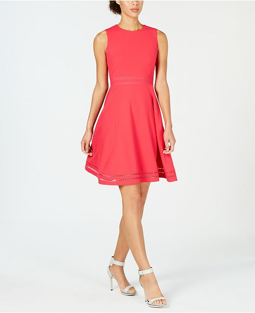 ed27a55a Calvin Klein Illusion-Trim Fit & Flare Dress & Reviews - Dresses ...