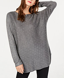 I.N.C. Petite Allover Rhinestone Shirttail Sweater, Created for Macy's