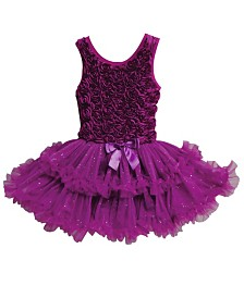 A Dark Purple Colored Ruffle Petti Dress For Your Little Girl
