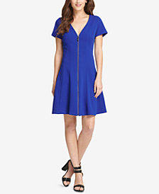 DKNY Front-Zip Fit & Flare Dress, Created for Macy's