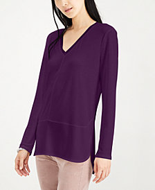 Bar III Long Sleeve V-Neck Mixed Media Mesh Top, Created for Macy's