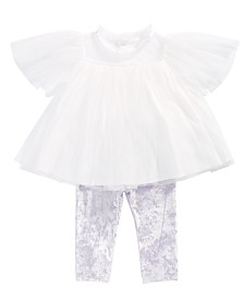 First Impressions Baby Girls 2-Pc. Tulle Tunic & Velvet Leggings Set, Created for Macy's