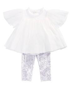 First Impressions Baby Girls 2-Pc. Tulle Tunic & Velvet Leggings Set, Created for Macy's