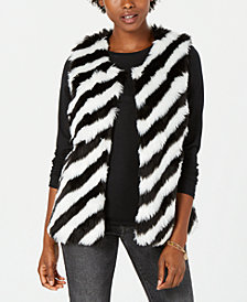 Say What? Juniors' Striped Faux-Fur Vest