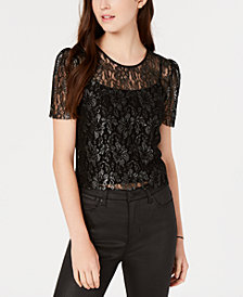 Say What? Juniors' Metallic Lace Top
